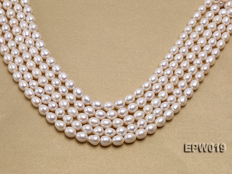 Wholesale 8.5x9mm Classic White Rice-shaped Freshwater Pearl String big Image 1