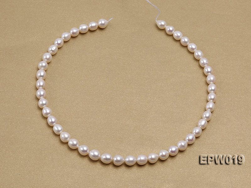 Wholesale 8.5x9mm Classic White Rice-shaped Freshwater Pearl String big Image 3