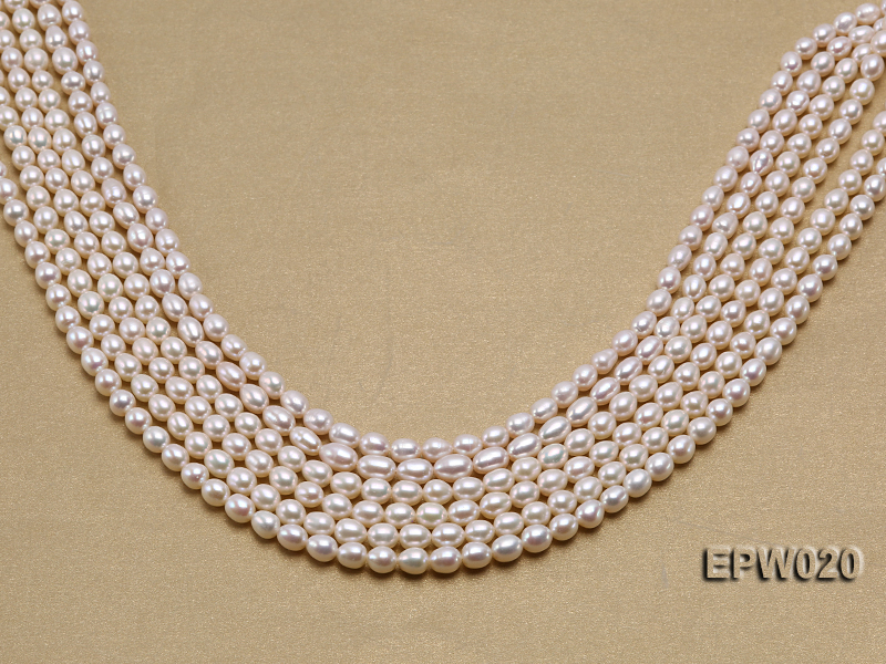 Wholesale 5.5x7mm Classic White Rice-shaped Freshwater Pearl String big Image 1