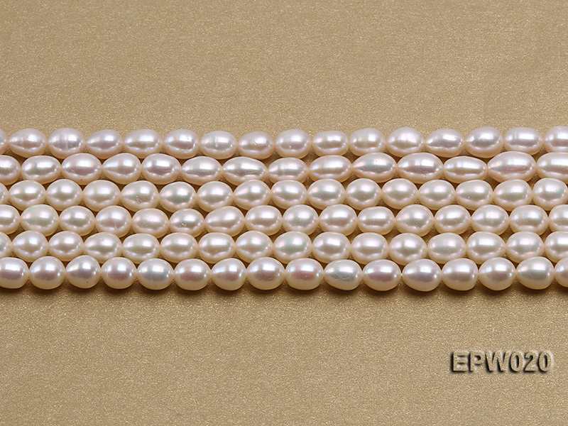 Wholesale 5.5x7mm Classic White Rice-shaped Freshwater Pearl String big Image 2