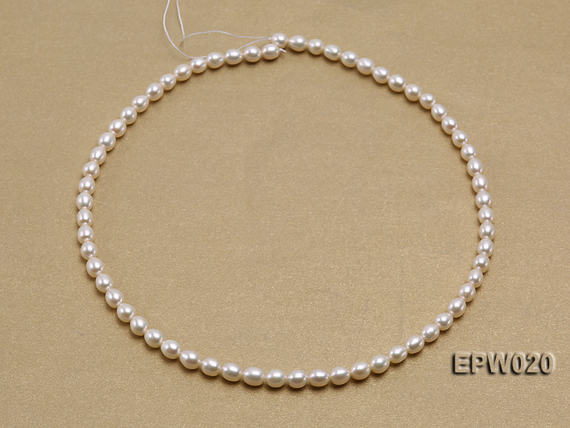 Wholesale 5.5x7mm Classic White Rice-shaped Freshwater Pearl String big Image 3