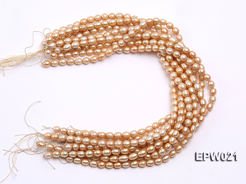 Wholesale 7X8.5mm  Rice-shaped Freshwater Pearl String big Image 4