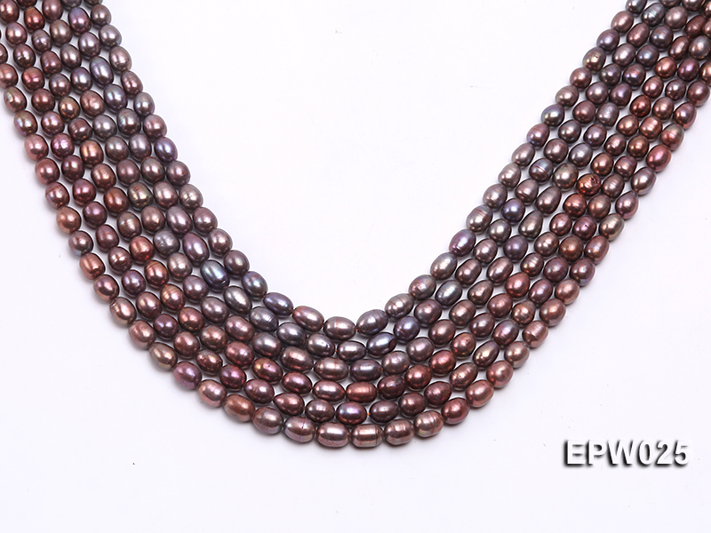 Wholesale 6x7mm Wind Red Rice-shaped Freshwater Pearl String big Image 1