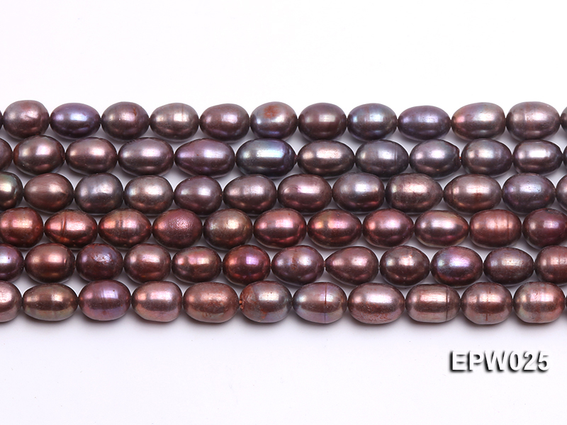 Wholesale 6x7mm Wind Red Rice-shaped Freshwater Pearl String big Image 2