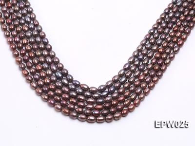 Wholesale 6x7mm Wind Red Rice-shaped Freshwater Pearl String EPW025 Image 1