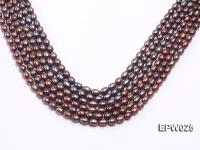 Wholesale 6x7mm Wind Red Rice-shaped Freshwater Pearl String EPW025