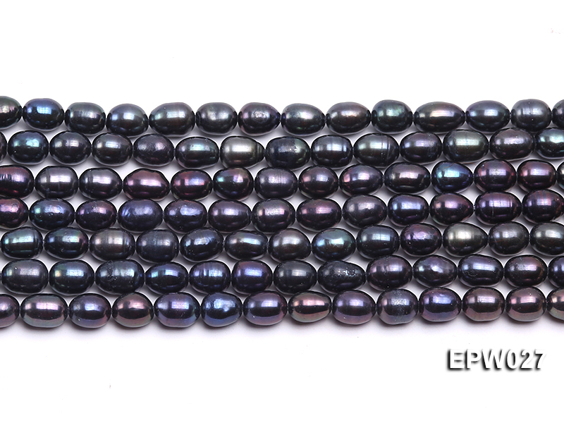Wholesale 5.5X6.5mm Black Rice-shaped Freshwater Pearl String big Image 1