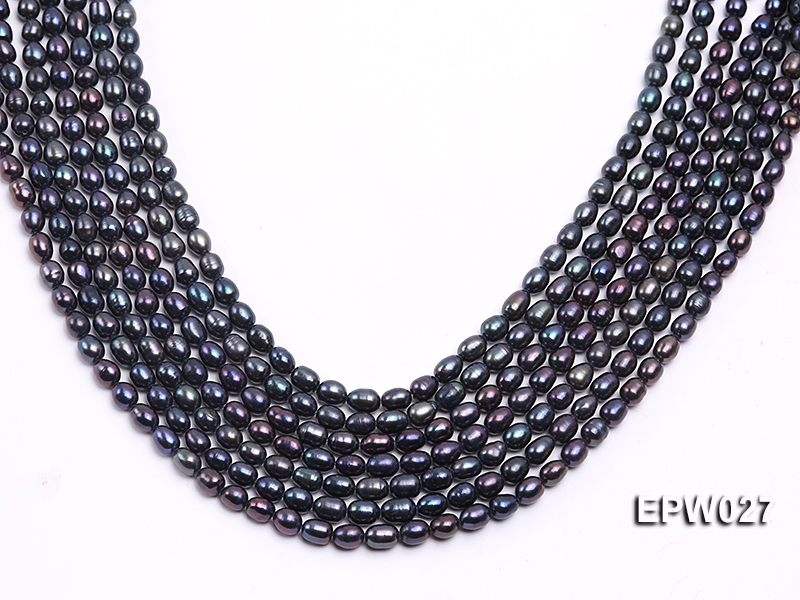 Wholesale 5.5X6.5mm Black Rice-shaped Freshwater Pearl String big Image 2