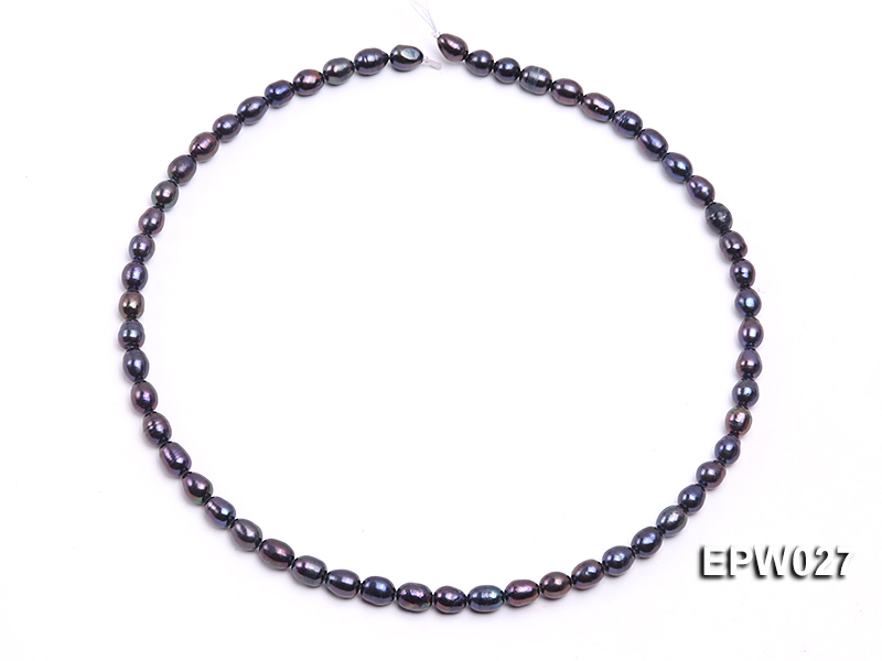 Wholesale 5.5X6.5mm Black Rice-shaped Freshwater Pearl String big Image 4