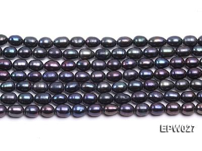Wholesale 5.5X6.5mm Black Rice-shaped Freshwater Pearl String EPW027 Image 1