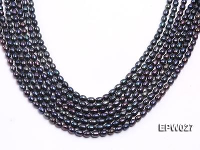 Wholesale 5.5X6.5mm Black Rice-shaped Freshwater Pearl String EPW027 Image 2