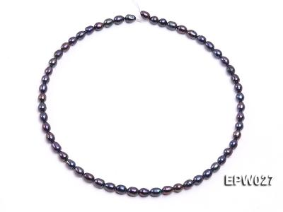 Wholesale 5.5X6.5mm Black Rice-shaped Freshwater Pearl String EPW027 Image 4