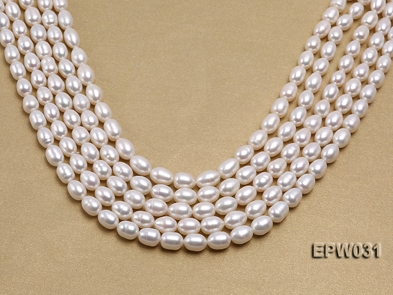 Wholesale 8X9mm Classic White Rice-shaped Freshwater Pearl String big Image 1