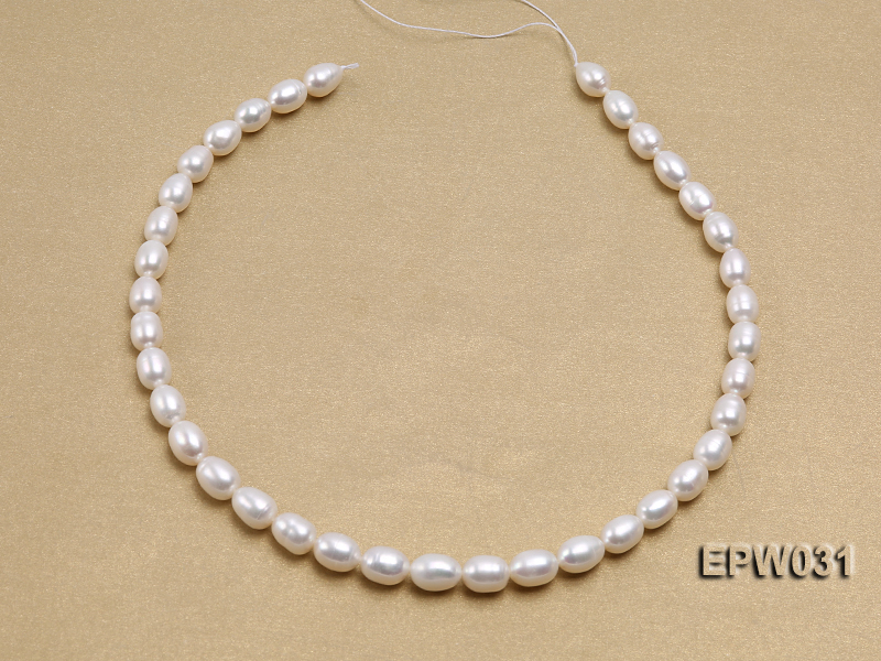 Wholesale 8X9mm Classic White Rice-shaped Freshwater Pearl String big Image 3
