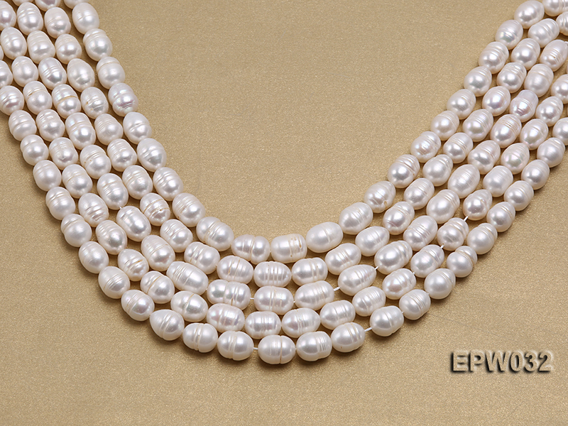 Wholesale 9.5x13mm white Rice-shaped Freshwater Pearl String big Image 1