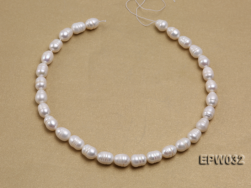 Wholesale 9.5x13mm white Rice-shaped Freshwater Pearl String big Image 3