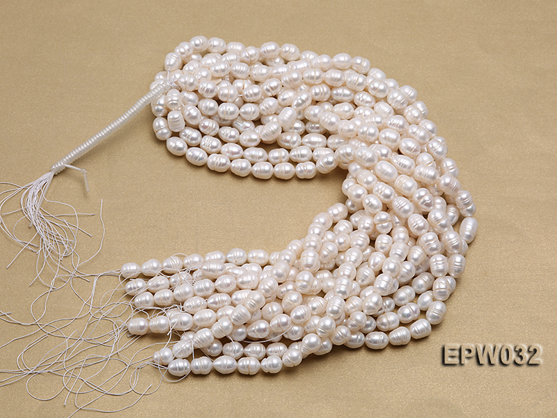 Wholesale 9.5x13mm white Rice-shaped Freshwater Pearl String big Image 4