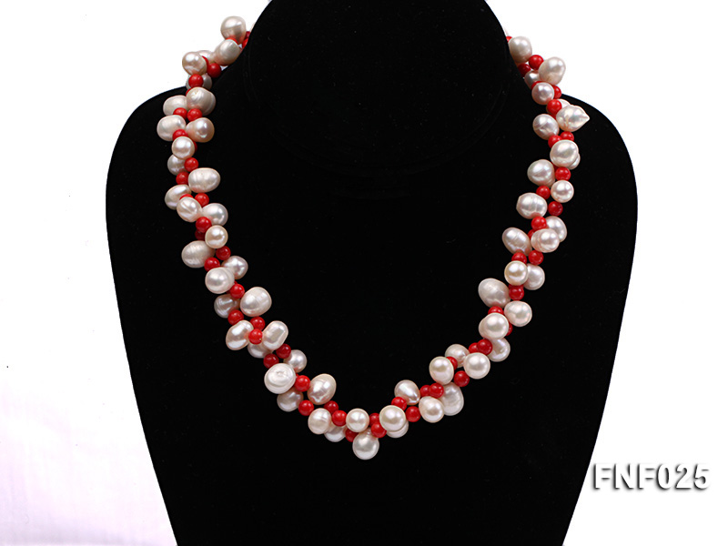 Two-strand 8-9mm White Freshwater Pearl Necklace and Red Coral Beads Necklace big Image 1