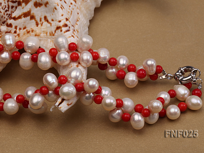 Two-strand 8-9mm White Freshwater Pearl Necklace and Red Coral Beads Necklace big Image 3