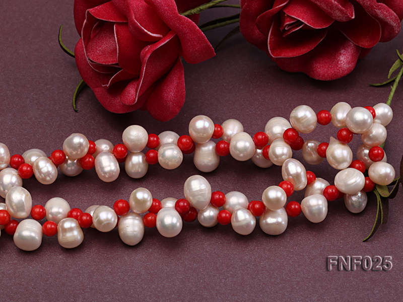 Two-strand 8-9mm White Freshwater Pearl Necklace and Red Coral Beads Necklace big Image 4