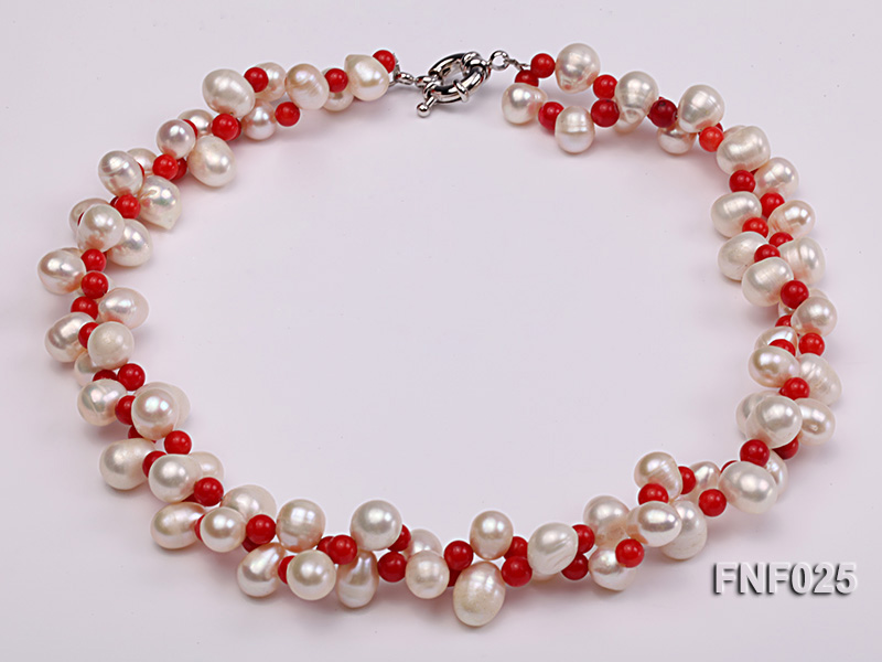 Two-strand 8-9mm White Freshwater Pearl Necklace and Red Coral Beads Necklace big Image 2