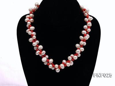 Two-strand 8-9mm White Freshwater Pearl Necklace and Red Coral Beads Necklace FNF025 Image 1