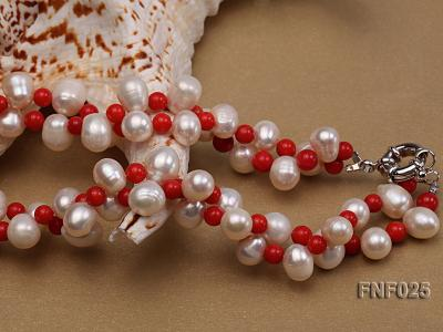 Two-strand 8-9mm White Freshwater Pearl Necklace and Red Coral Beads Necklace FNF025 Image 3