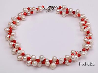 Two-strand 8-9mm White Freshwater Pearl Necklace and Red Coral Beads Necklace FNF025 Image 2