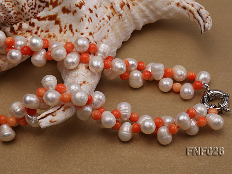 Two-strand 8-9mm White Freshwater Pearl Necklace and Pink Coral Beads Necklace big Image 3