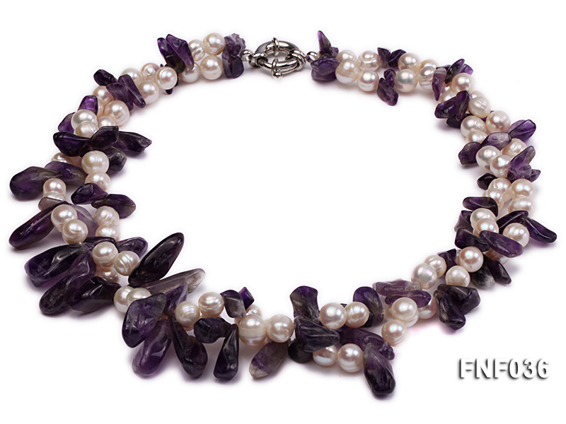 Two-strand 6-8mm White Freshwater Pearl and Purple Baroque Crystal Chips Necklace big Image 1