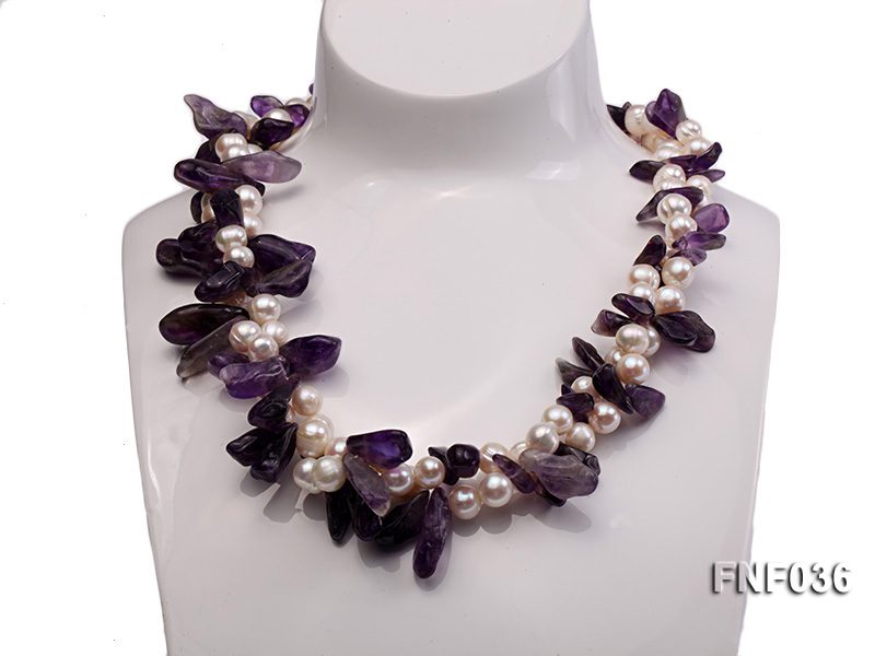 Two-strand 6-8mm White Freshwater Pearl and Purple Baroque Crystal Chips Necklace big Image 2