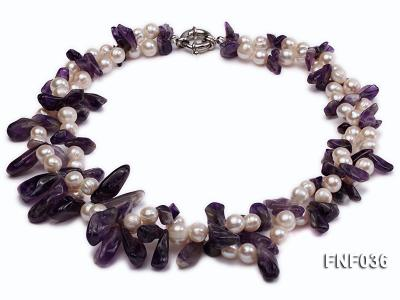 Two-strand 6-8mm White Freshwater Pearl and Purple Baroque Crystal Chips Necklace FNF036 Image 1