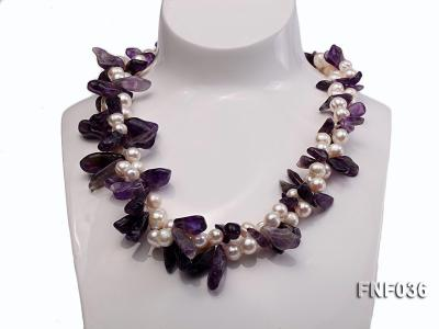 Two-strand 6-8mm White Freshwater Pearl and Purple Baroque Crystal Chips Necklace FNF036 Image 2