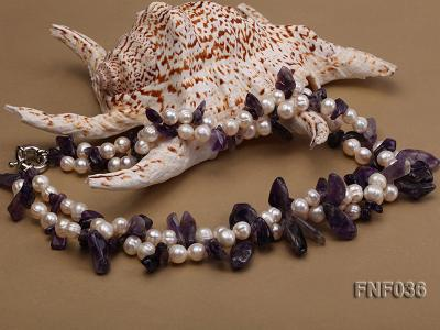 Two-strand 6-8mm White Freshwater Pearl and Purple Baroque Crystal Chips Necklace FNF036 Image 3