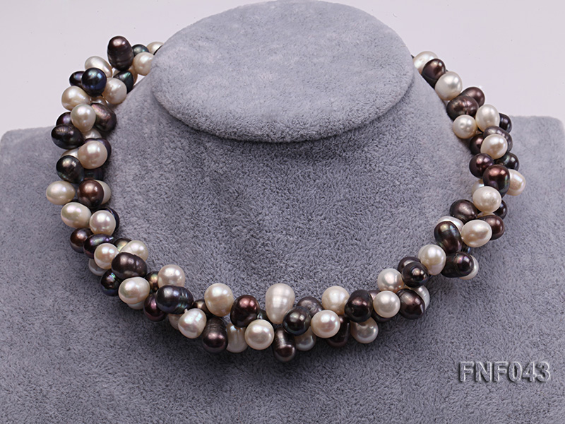 Two-strand 8-10mm White and Dark-purple Freshwater Pearl Necklace big Image 2