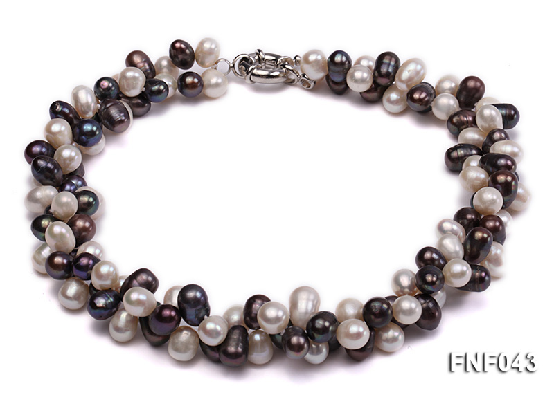 Two-strand 8-10mm White and Dark-purple Freshwater Pearl Necklace big Image 1