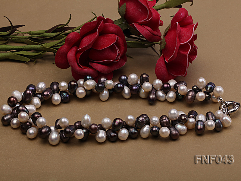 Two-strand 8-10mm White and Dark-purple Freshwater Pearl Necklace big Image 3