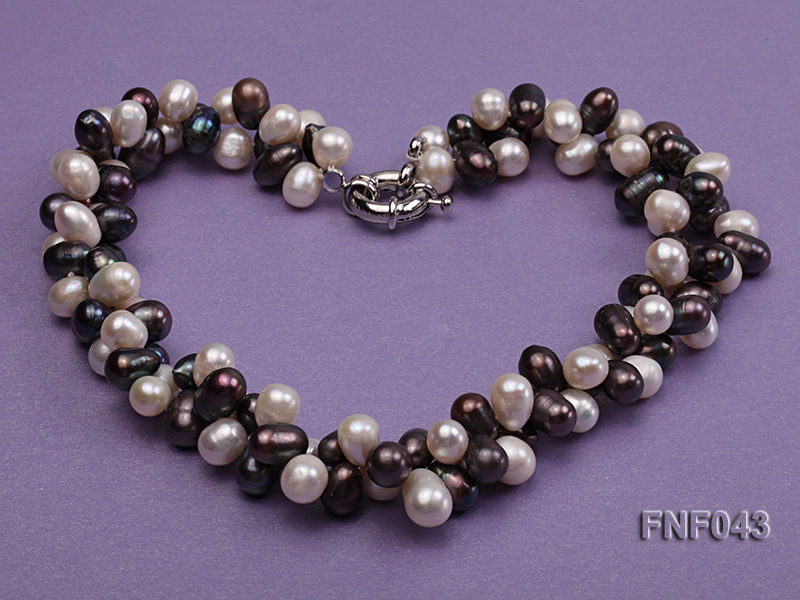 Two-strand 8-10mm White and Dark-purple Freshwater Pearl Necklace big Image 4