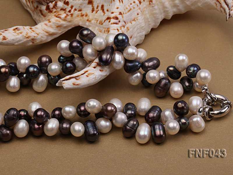 Two-strand 8-10mm White and Dark-purple Freshwater Pearl Necklace big Image 5