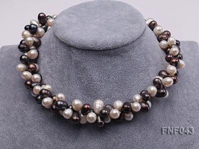 Two-strand 8-10mm White and Dark-purple Freshwater Pearl Necklace FNF043 Image 2