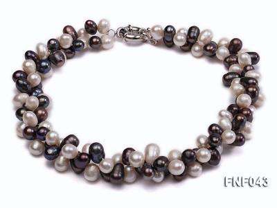Two-strand 8-10mm White and Dark-purple Freshwater Pearl Necklace FNF043 Image 1