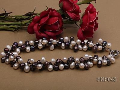 Two-strand 8-10mm White and Dark-purple Freshwater Pearl Necklace FNF043 Image 3