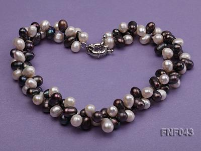 Two-strand 8-10mm White and Dark-purple Freshwater Pearl Necklace FNF043 Image 4