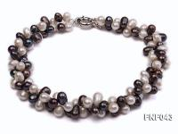 Two-strand 8-10mm White and Dark-purple Freshwater Pearl Necklace FNF043