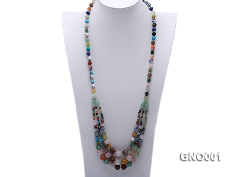 8mm Three-Row Colorful Gemstone Necklace big Image 1