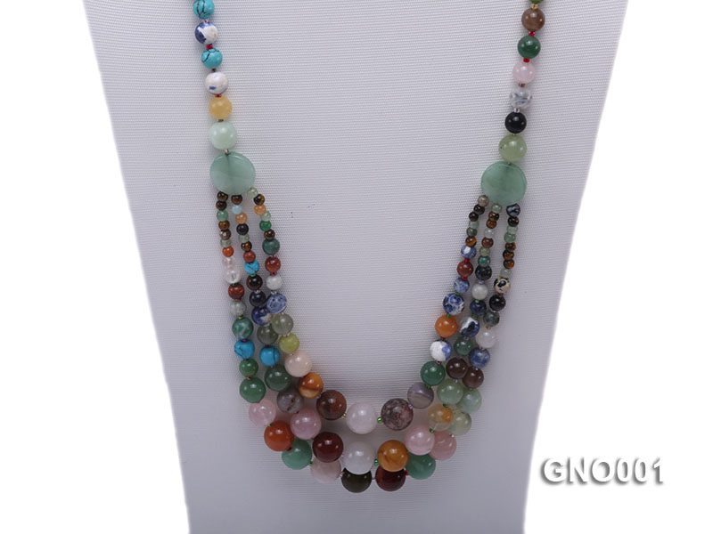 8mm Three-Row Colorful Gemstone Necklace big Image 2