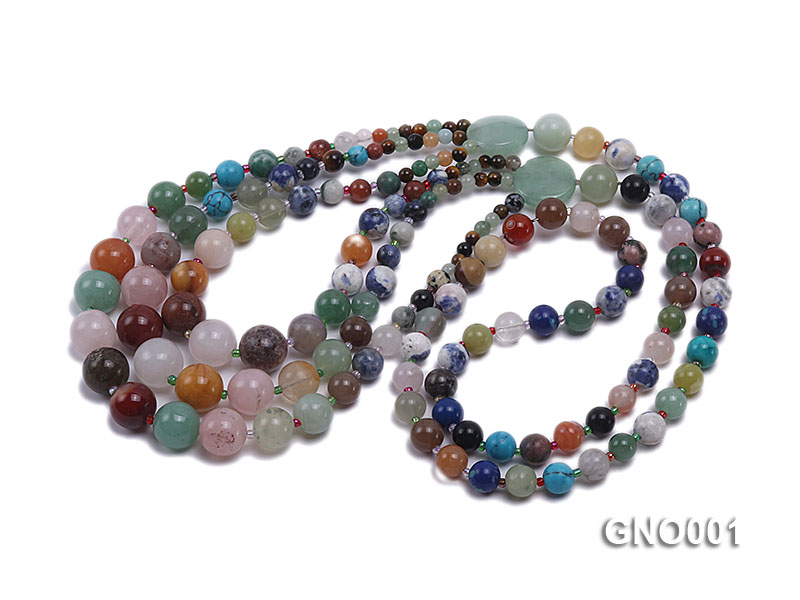 8mm Three-Row Colorful Gemstone Necklace big Image 3