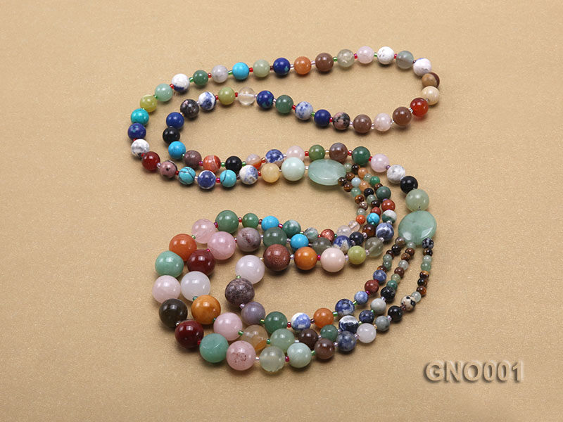 8mm Three-Row Colorful Gemstone Necklace big Image 4