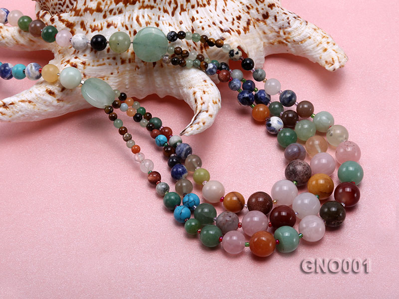 8mm Three-Row Colorful Gemstone Necklace big Image 5