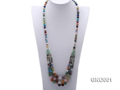 8mm Three-Row Colorful Gemstone Necklace GNO001 Image 1
